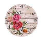 Placa Em Mdf E Papel Decor Home Relógio Flores Dhpm-048 - L