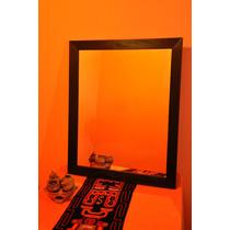 Espejo Con Marco De Madera 80 X 80 Cm