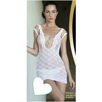 Mini Vestido Renda Arrastão Segunda Pele Sexy Branco
