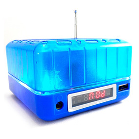 Velikka Bocina Recargable Usb Radio Fm Aux Antena St-85 Azul
