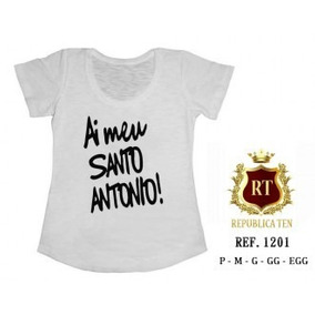 Camiseta Ai Meu Santo Antonio T-shirts Blusas Femininas