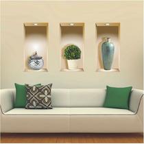Kit 3 Adesivos Decorativos Vasos Decorativos Nicho Flor