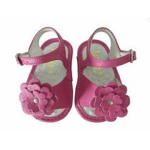 10807 - Infantil Feminino Sandália Em Couro Bebê Pink Toke.