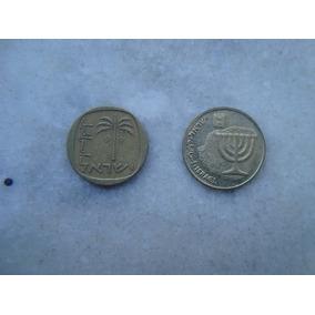 2985 Moeda Israel 2 Moedas 10 Agorot Bron/alum - 22 Mm