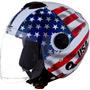 Capacete De Moto New Atomic Bandeira Dos Estados Unidos Usa