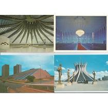 4 Cartões Postais Antigos Brasilia Anos 60/70 - Raro.