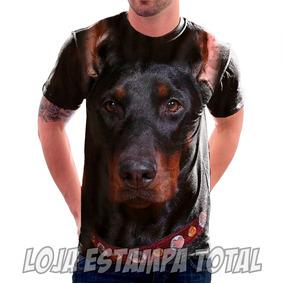 Camiseta Cachorro Doberman - Camisa Estampa Total 3d