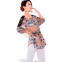 Blusa Feminina Modelo Bata Estampa Floral