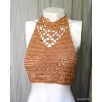 Top Dorado Tejido A Crochet. En Viscosa.