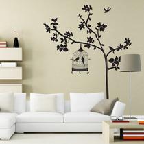 Vinil Decorativo Arbol Rama Jaula Pajaritos 130x160cm