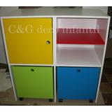 Mueble Cubos Y Puertas Baul Guardajuguetes Infantil Repisas