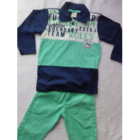 Conjunto De Camisa Gola Polo E Calça Sarja