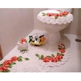 Tapete Em Croche Flores Jogo De Banheiro 3 Peças!!