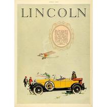 Lienzo Tela Publicidad Anuncio Auto Lincoln 1926 80 X 50 Cm