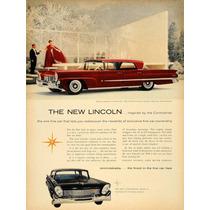Lienzo Tela Publicidad Anuncio Auto Lincoln 1957 80 X 50 Cm
