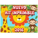 Kit Imprimible Animales De La Selva Invitaciones + Candy Bar
