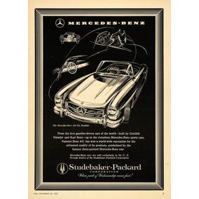 Lienzo Tela Publicidad Anuncio Auto Mercedes Benz 1957 80x50