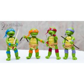 Tortugas Ninja En Porcelana Fria - Adorno Para Torta
