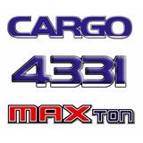 Kit Completo Emblema Caminhão Cargo 4331 + Maxton + Max Ton