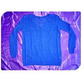 Cardigan Algodón Lycra Calado Azul Saquito Saco Sweater Pull