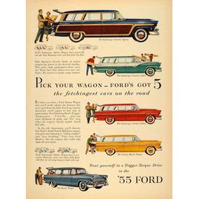 Lienzo Tela Publicidad Anuncio Automóvil Ford 1955 70 X 50cm