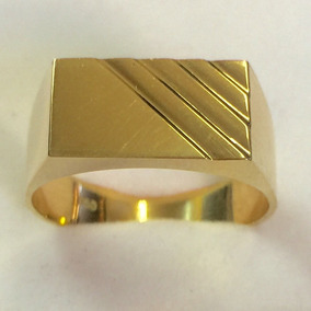 Labelejoias Anel Masculino Forrado Retangular Ouro 18k750.