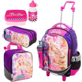 Kit Mochila Estojo E Lancheira Barbie Rock Roxo