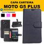 Capa Couro Carteira Flip Cover Moto G5 Plus + Pelicula Vidro