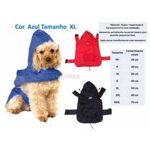 Capa Chuva Azul Capuz Roupas Acessórios Cão Dog Tamanho X L