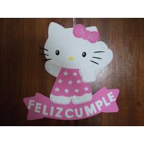Cartel Cumpleaños - Hello Kitty - Goma Eva 33 X 36 Cm