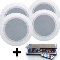 Kit Som Ambiente Amplificador Pc Bluetooth Caixa De Gesso