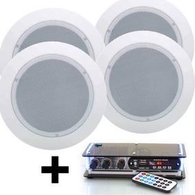 Kit Som Ambiente Amplificador Pc Bluetooth 4 Caixa Embutir