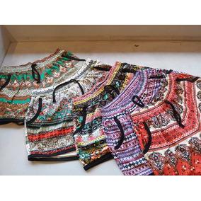 Kit Com 10 Shorts Com 2 Bolso Em Malha Estampada