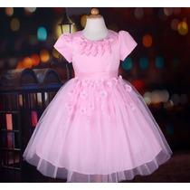 Vestido Infantil Princesa Daminha Florista Com Flores