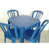Mesa C/ 4 Cadeiras Plástico Goyana - Jogo De Mesa Colorido