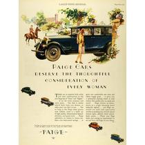 Lienzo Tela Publicidad Anuncio Automóvil Paige 1927 70 X 50