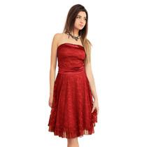 Vestido Strapless Corto De Encaje Elastizado, Brishka M-0060