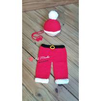 Conjunto Papai Noel - Newborn Crochê Eef.