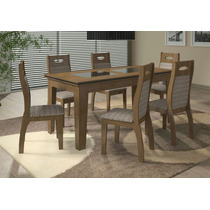 Mesa Madeira+vidro Seis Cadeiras Amofadadas