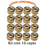 Kit De Capa Lisa Dourado P/parafuso Roda 17mm 16 Peças