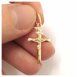 Crucifixo Pingente Cruz Com Cristo Masculino Joia Ouro 18k