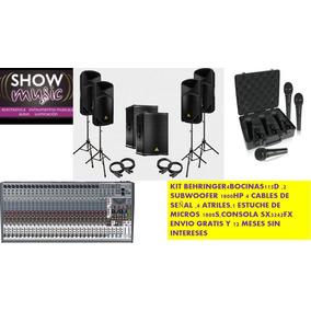 Kit Behringer 4bocinas Amplificada,consola,2subwoofer,micros