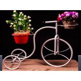 Bicicleta Decoração Para Jardim Com 2 Vasos Branca Decorativ