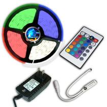 Kit Completo Tira Led Rgb 3528 Con Fuente Y Controlador @tl