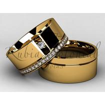 Alianças De Ouro E Zirconias. Casamento Noivado.