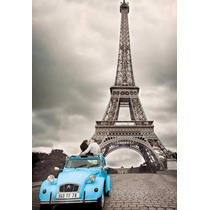 Torre Eiffel Pareja En Tela Canvas Bastidor De 50x30 Cm