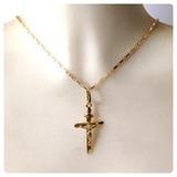 Cordão Masculino De 50cm Pingente Cruz Cristo 2.4gr Ouro 18k