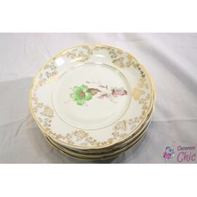 Pratos Sobremesa Porcelana Real Flor Verde C/ Ouro Cchic