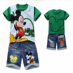 Conjunto Infantil Mickey Disney Camisa Bermuda P Entrega