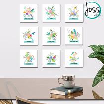 Cuadros Decorativos Set De 9 Pájaros Y Flores